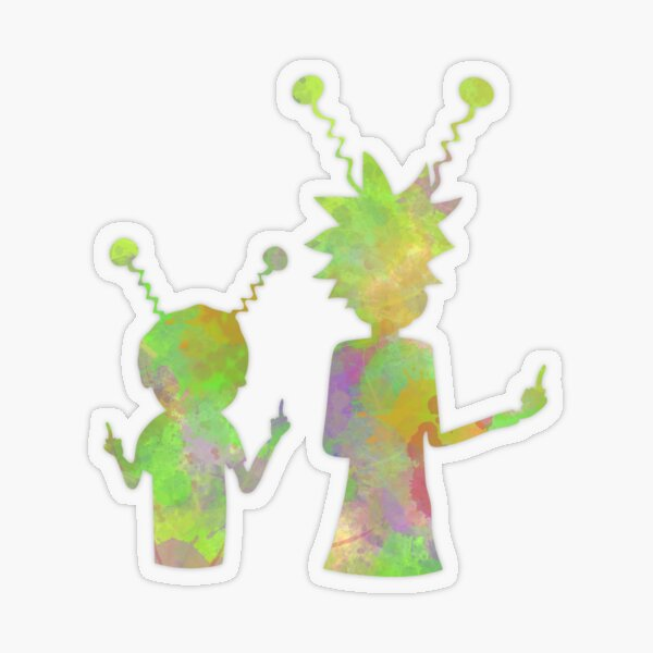 Rick and Morty silhouette - Peace among worlds  Transparent Sticker