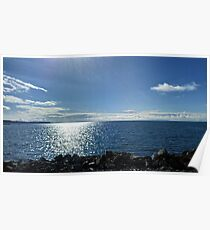 Beach, sea, rocks and blue sky Poster