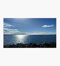 Beach, sea, rocks and blue sky Photographic Print