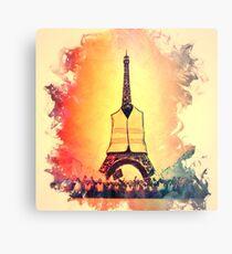 Lienzo metálico Torre Eiffel en luz amarilla chaleco jaunes