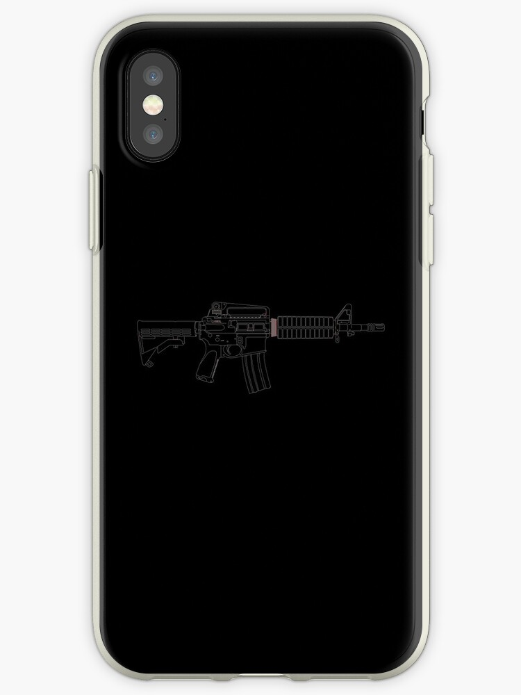 'assault rifle line art gun' iPhone Case by boiiii