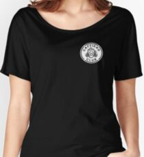 Misfits Caffiend Club black & white stencil design Women's Relaxed Fit T-Shirt