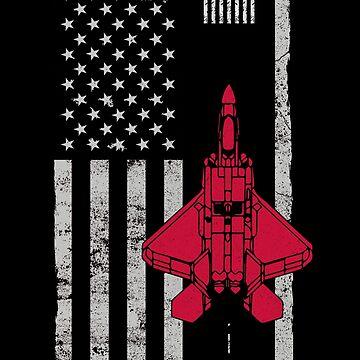 US Flag Airplane F-22 Runway by MikeMcGreg