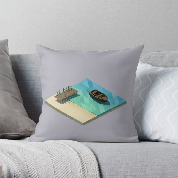 Boat on Shore Throw Pillow