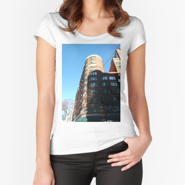 New York City, Manhattan, New York, downtown, #NeeYorkCity, #Manhattan, #NeeYork, #downtown, #buildings, #streets, #avenues, #skyscrapers, #cars, #pedestrians Fitted Scoop T-Shirt