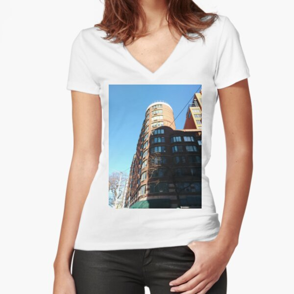 New York City, Manhattan, New York, downtown, #NeeYorkCity, #Manhattan, #NeeYork, #downtown, #buildings, #streets, #avenues, #skyscrapers, #cars, #pedestrians Fitted V-Neck T-Shirt