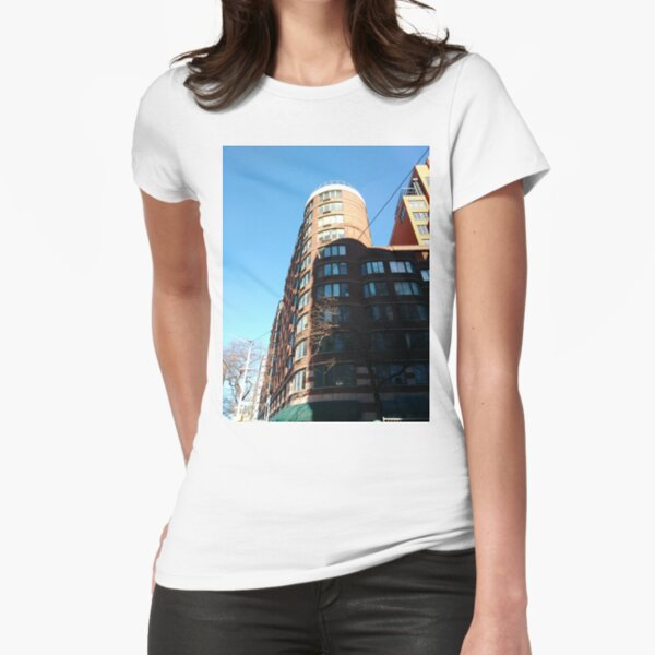 New York City, Manhattan, New York, downtown, #NeeYorkCity, #Manhattan, #NeeYork, #downtown, #buildings, #streets, #avenues, #skyscrapers, #cars, #pedestrians Fitted T-Shirt