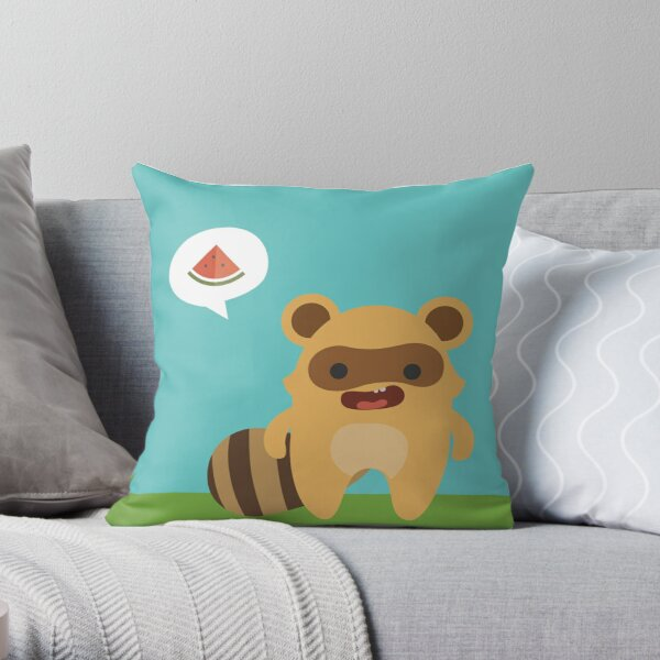 Mapuski Raccoon COLOR Throw Pillow