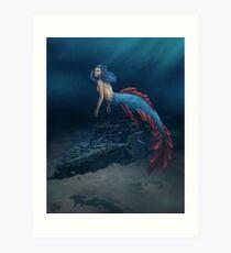 Mermaid- Deep Sea Diving Art Print