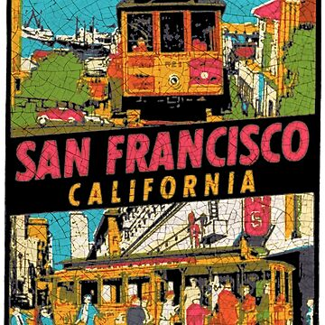 San Francisco Cable Car vintage car decal USA by midcenturydave