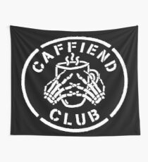Misfits Caffiend Club white stencil design Wall Tapestry