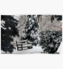 Dreamy Winter's Bench Poster