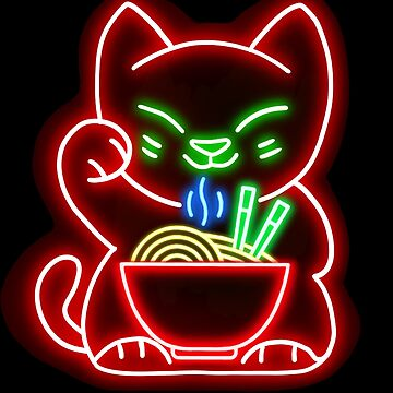 Neon Lucky Cat Ramen Noodle Bowl  by House-of-Roc