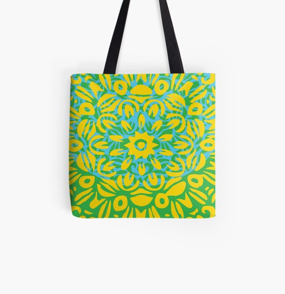Floral Burst, Yellow, Turquoise & Green Mandala 13 All Over Print Tote Bag