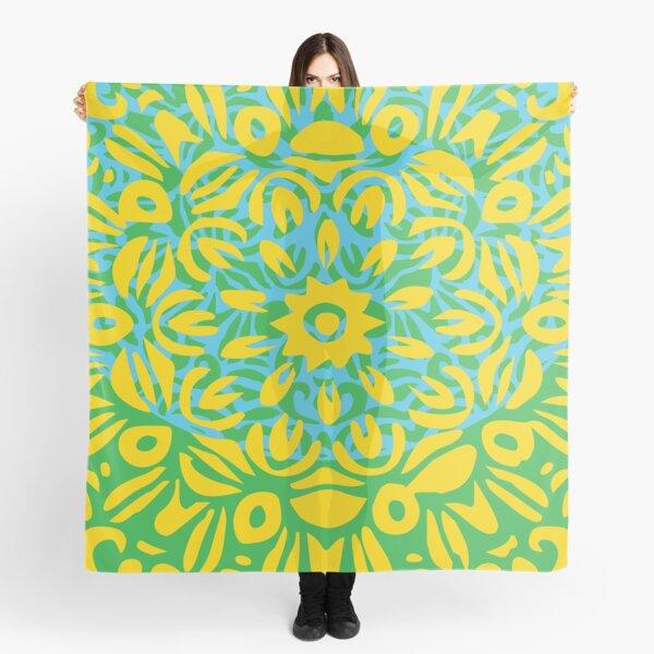 Floral Burst, Yellow, Turquoise & Green Mandala 13 Scarf