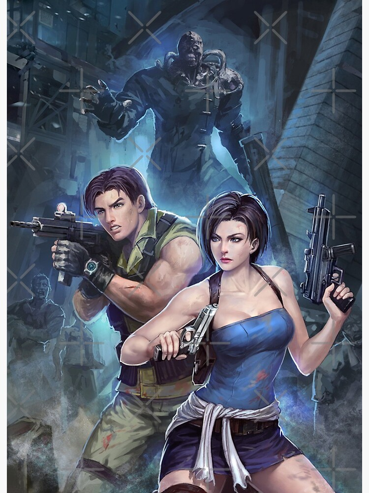 Resident Evil 3 Jill Carlos Nemesis Art Board Print By