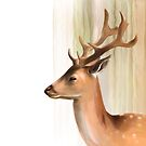 Portrait of a young Stag by artbywilf