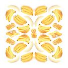 Bananas Digital Photography Collage Mandala / Yellow Fruit Mandala Pictures by Anna Grunduls
