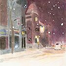 2010 Winter Series - The Clock Tower on a Snowy Night by Blended