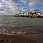 Snow on the Breakwater - Erie, PA by Kathy Weaver