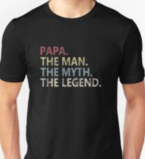 Mens The Man The Myth The Legend Shirt for Mens Papa Dad Dad Slim Fit T-Shirt