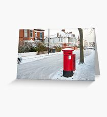 Snowy Letterbox in Idmiston Road, West Norwood, London. Greeting Card