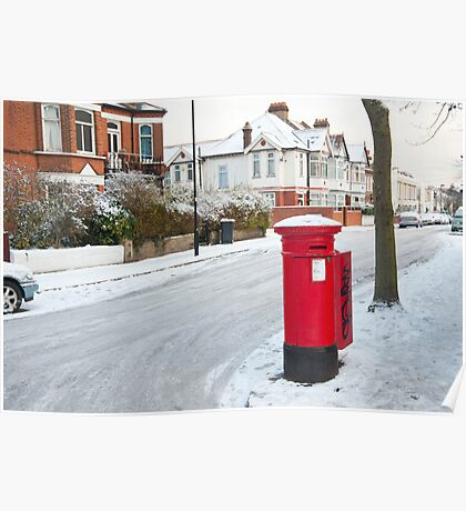 Snowy Letterbox in Idmiston Road, West Norwood, London. Poster
