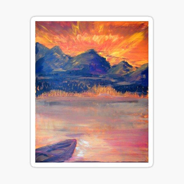 Canoe In The Sunset Sticker