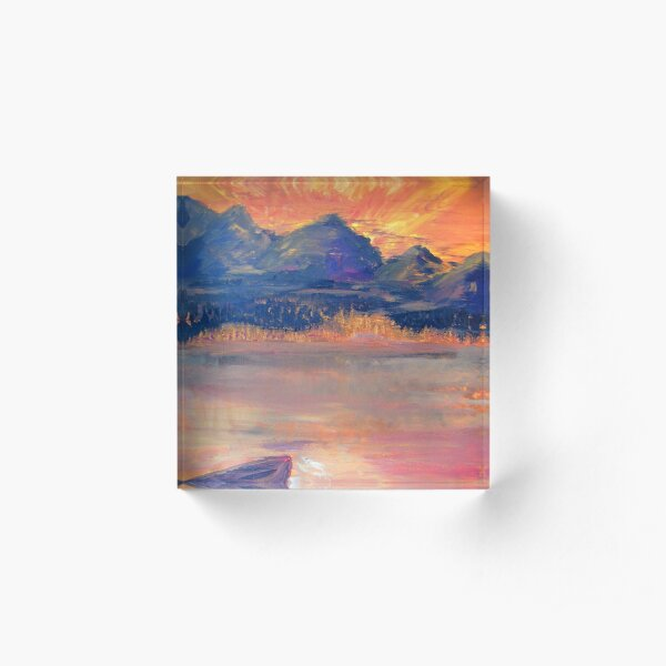 Canoe In The Sunset Acrylic Block