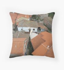 Red roofs from a medieval village Throw Pillow