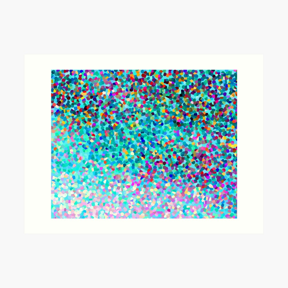 Aqua Blue Mehrfarbige Abstrakte Kunst Formt Muster Kunstdruck
