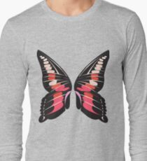 Pink Double Wing Butterfly Long Sleeve T-Shirt
