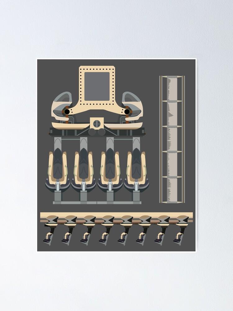 Alternate view of Nemesis Rollercoaster Alton Towers Blueprint Design Poster