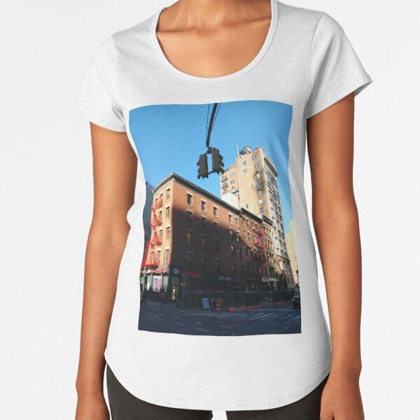 New York City, Manhattan, New York, downtown, #NeeYorkCity, #Manhattan, #NeeYork, #downtown, #buildings, #streets, #avenues, #skyscrapers, #cars, #pedestrians Premium Scoop T-Shirt