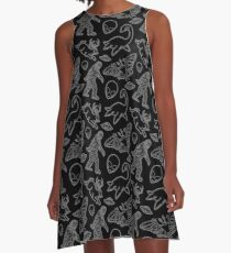 Cryptid Pattern lines White A-Line Dress