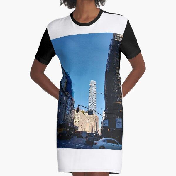 New York City, #Manhattan, New York, #downtown, #NeeYorkCity, #NeeYork, #buildings, #streets, #avenues, #skyscrapers, #cars, #pedestrians Graphic T-Shirt Dress