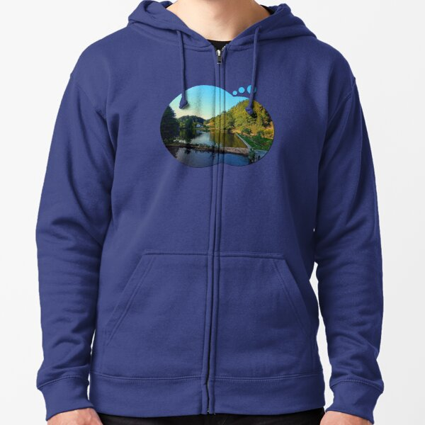 A summer evening along the river | waterscape photography Zipped Hoodie