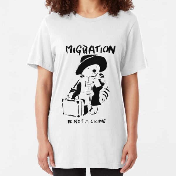 Banksy - Migration Is Not A Crime Slim Fit T-Shirt