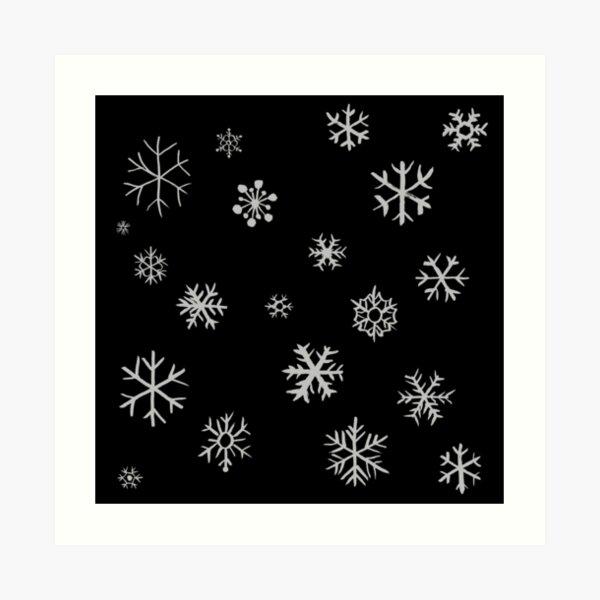 Snowflakes (white) Art Print