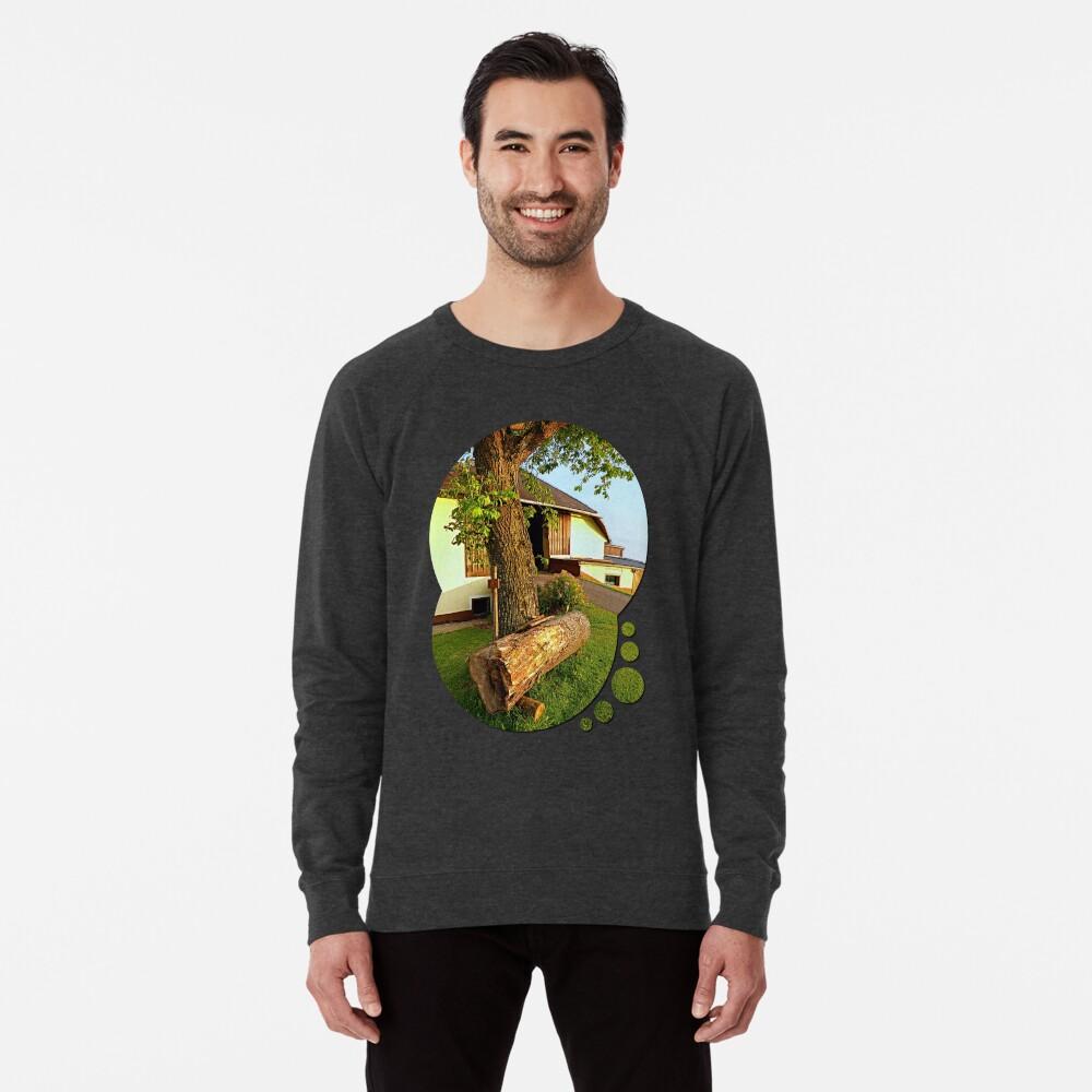 Tree trunk bench on a summer evening | landscape evening Lightweight Sweatshirt