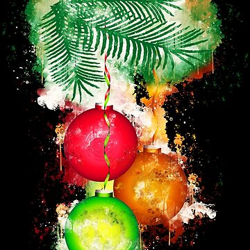 Christmas holiday ornaments watercolor painted by VincentW91