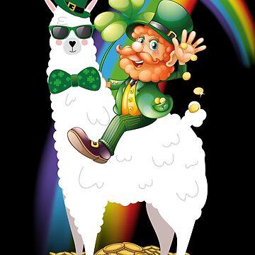 St Patrick's Day Llama - Leprechaun Riding Llama by edgyshop