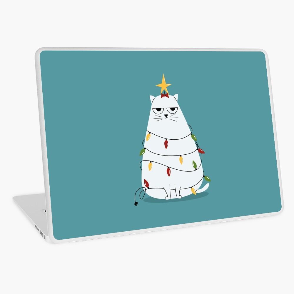 Grumpy Christmas Cat Laptop Skin