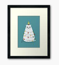 Grumpy Christmas Cat Framed Print