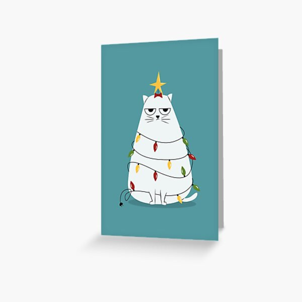 Grumpy Christmas Cat Greeting Card