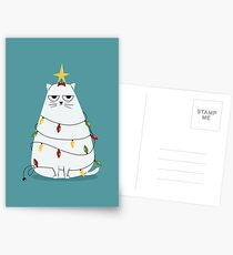 Grumpy Christmas Cat Postcards