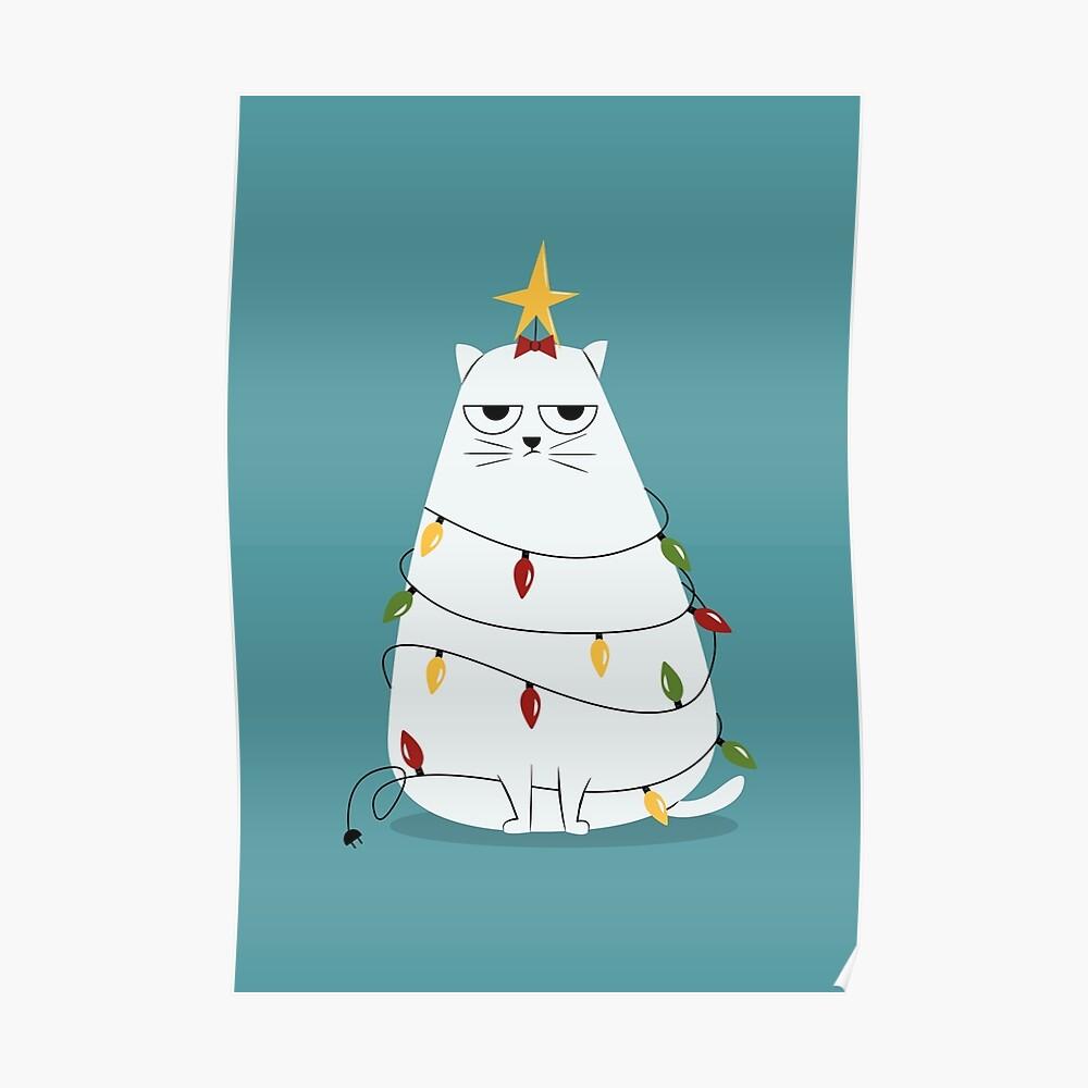 Grumpy Christmas Cat Poster
