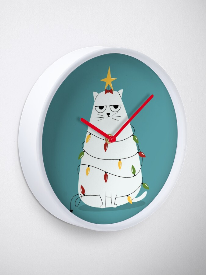 Alternate view of Grumpy Christmas Cat Clock