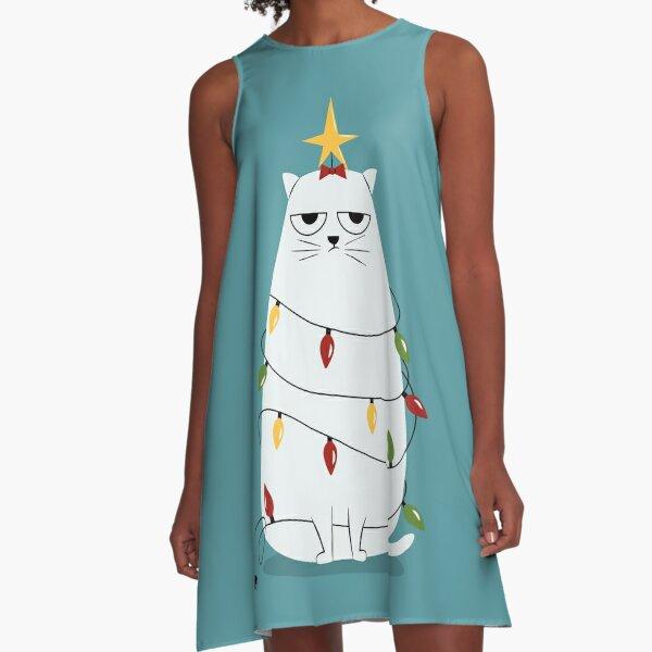 Grumpy Christmas Cat A-Line Dress