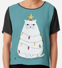 Grumpy Christmas Cat Chiffon Top